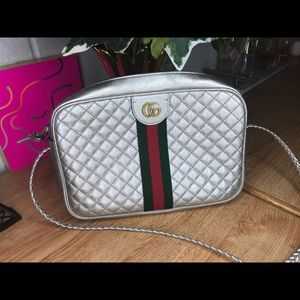 Gucci Laminated Silver Shoulder Bag
